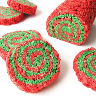 red and green Christmas rice krispie treat pinwheels