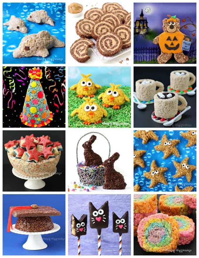 a collage of images featuring decorated rice krispie treats for holidays and special occasions
