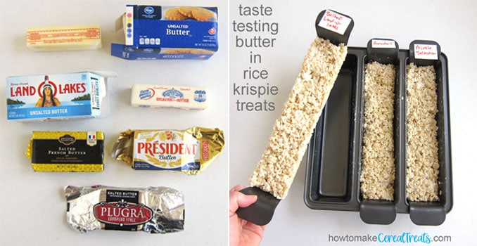 different brands of butter, both European and American, salted and unsalted were tested in rice krispie treat recipes to determine the best