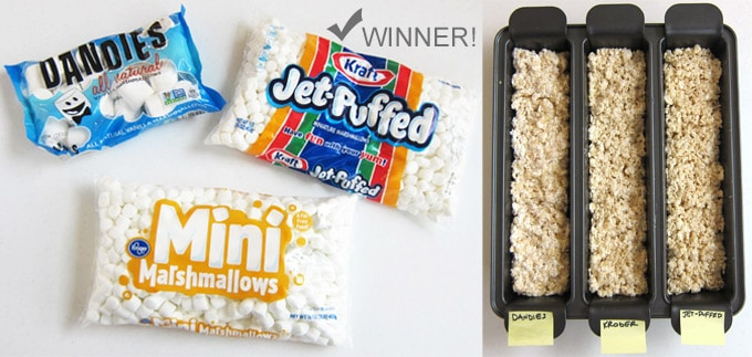 We taste tested three different brands of marshmallows to find the one with the best flavor and right chewiness for our rice krispie treat recipe