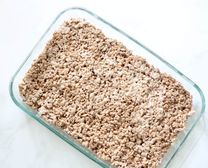 Cocoa Rice Krispie Treats image in baking pan