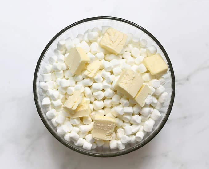marshmallows and butter for Rice Krispie Treats recipe