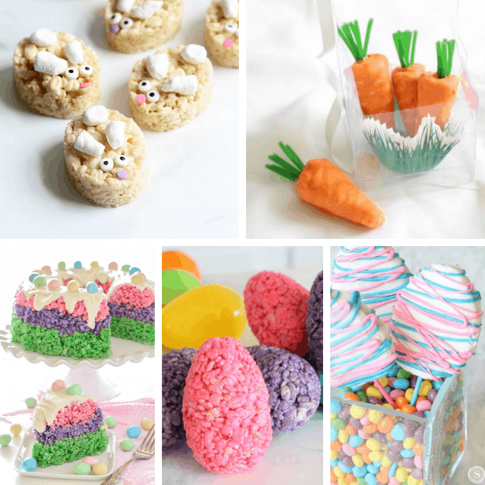 A roundup of 20 EASTER RICE KRISPIE TREATS -- Easy, no-bake cereal treats for the Easter holiday, with links to tutorials and how-tos.