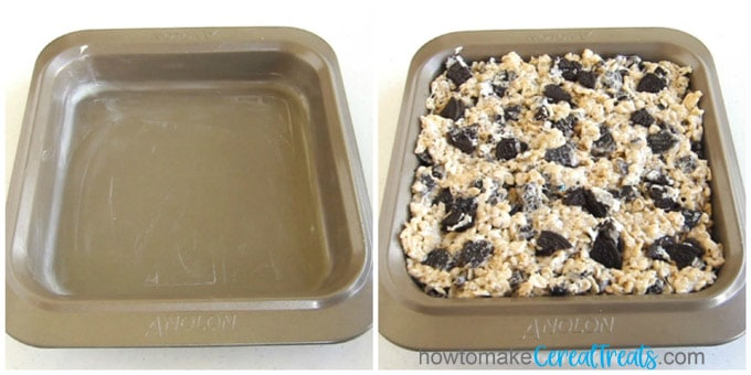 a side by side collage with one image of a buttered 8-inch pan and one pan filled with Oreo cereal treats