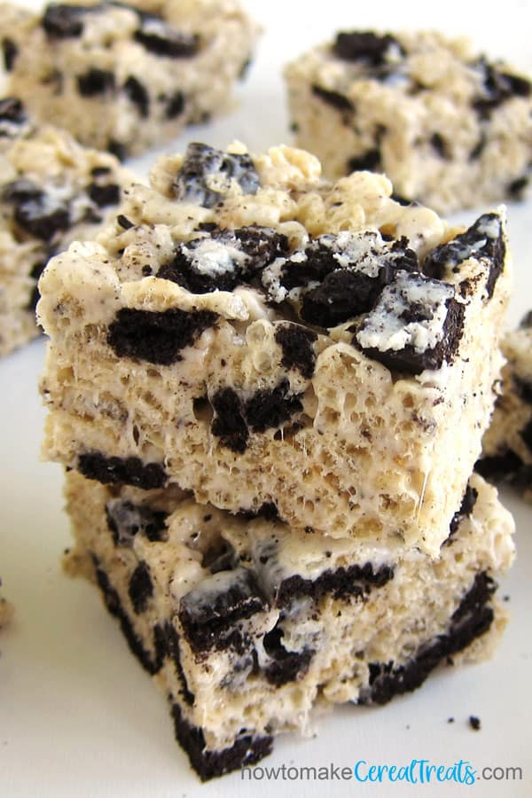 top down view of rice krispie treats loaded with Oreo Cookie pieces