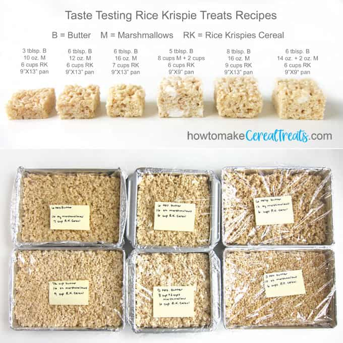taste testing six different rice krispie treats using varying amounts of butter, marshmallows, and Rice Krispies Cereal to come up with the ultimate rice krispie treat recipe