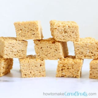 front view of stacked butterscotch rice krispie treats
