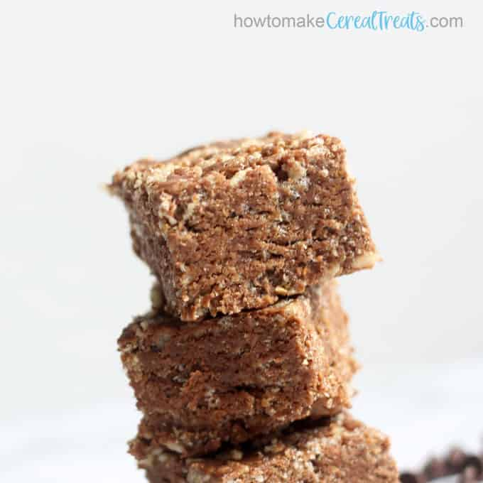 close-up front view of chocolate peanut butter rice krispie treats
