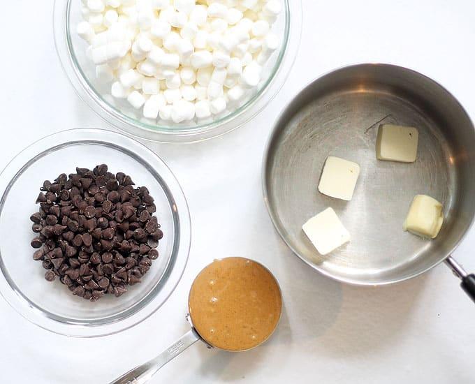 chocolate peanut butter rice krispie treat recipe ingredients