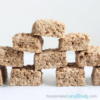 front view of stacked cocoa Rice Krispie Treats