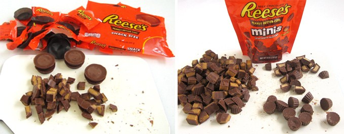 cutting snack sized Reese's Cups into 9 pieces and cutting Reese's Cup Minis in half