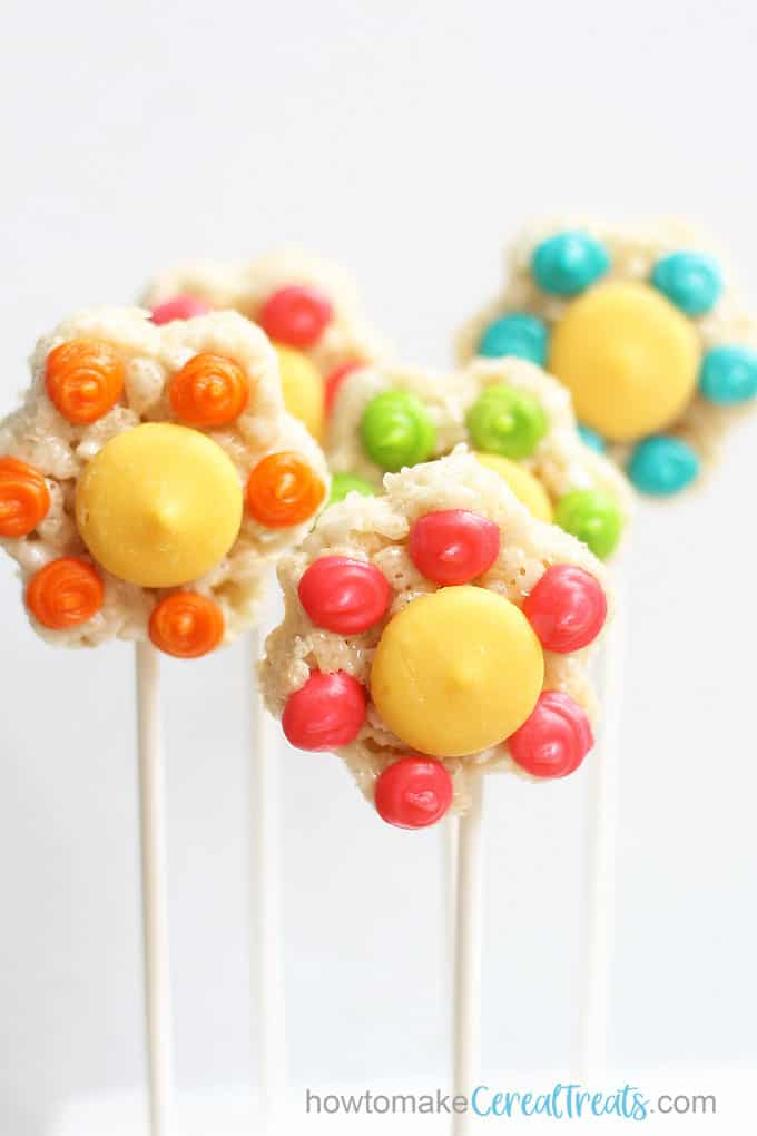 flower rice krispie treats arranged on sticks