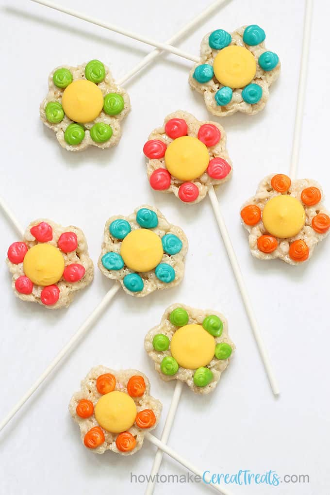 overhead view of flower rice krispie treats on sticks