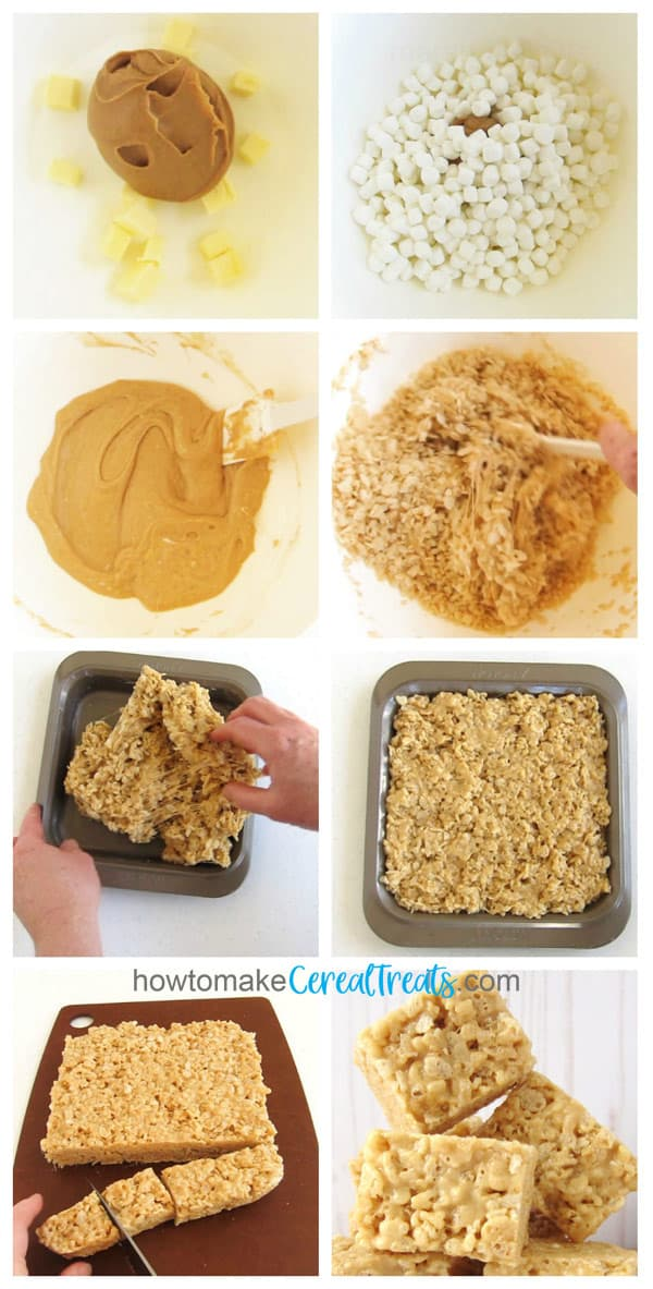 collage of images showing the step-by-step process of making peanut butter rice krispie treats by melting the butter, peanut butter, and marshmallows then stirring in the rice krispies cereal and patting the mixture into a pan before cutting them into squares