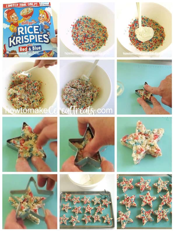 collage of images showing how to make red, white, and blue rice krispie treat stars using Kellogg's Red & Blue Rice Krispies Cereal, marshmallows, and butter