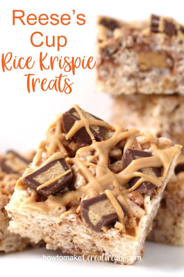 A closeup picture of a Reese's Cup Rice Krispie Treats loaded with peanut butter cups and topped with a blend of melted Reese's Peanut Butter Chips and creamy peanut butter.
