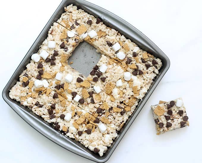 s'mores rice krispie treats cut in squares