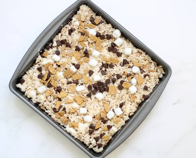 s'mores rice krispie treats in baking pan