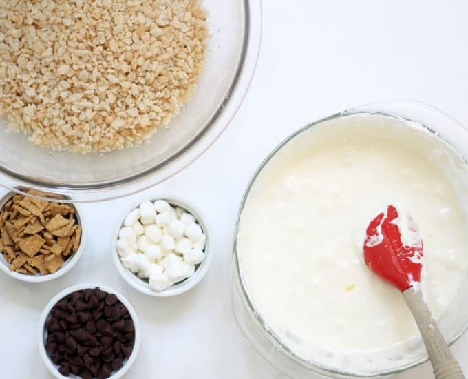 s'mores rice krispie treats mixing ingredients