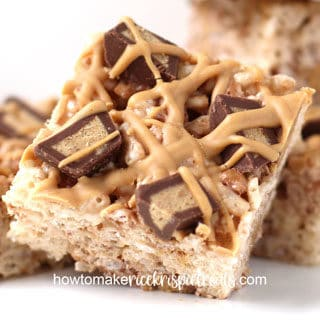 closeup image of reese cup rice krispie treats