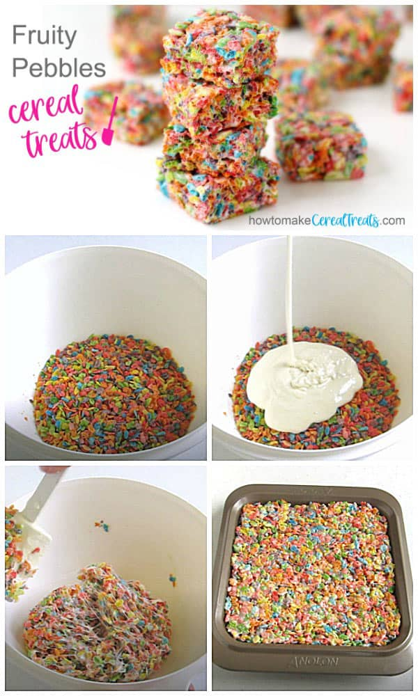 Marshmallow Fruity Pebbles cereal treats are made by blending melted marshmallows and butter with Fruity Pebbles cereal.