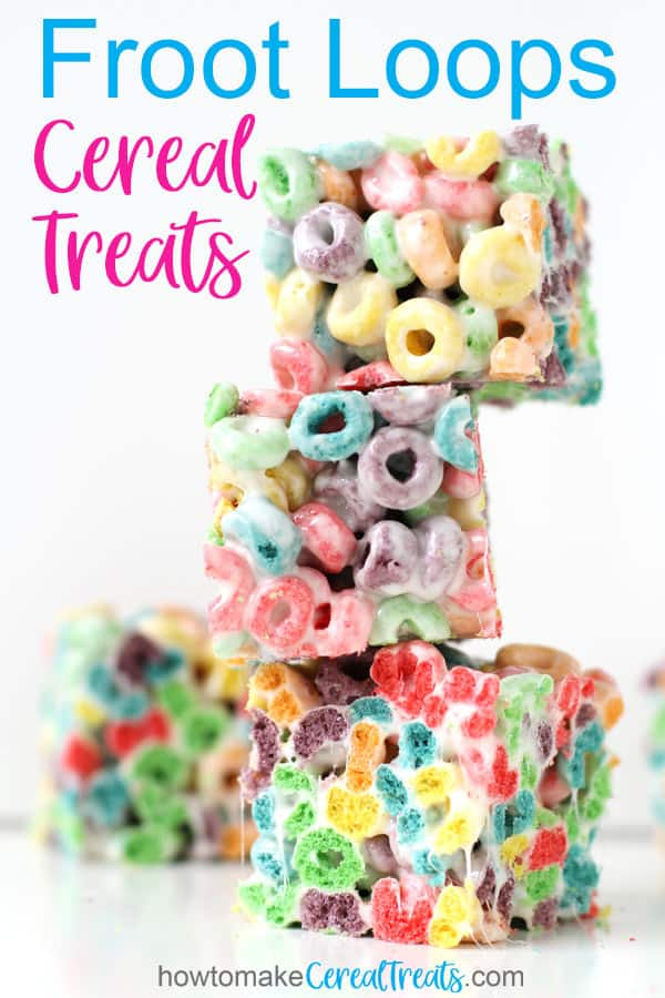 Froot Loops Cereal Treats stacked on top of each other on a white background