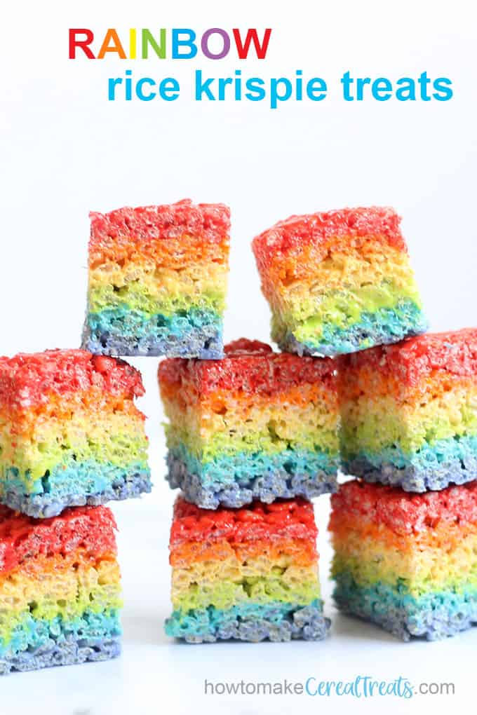 stack of rainbow Rice Krispie Treats