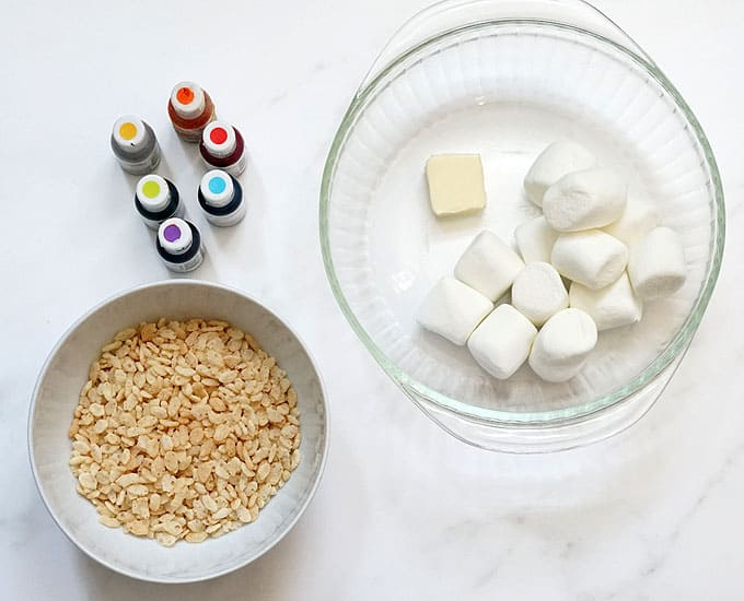 ingredients for rainbow rice krispie treats