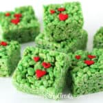 This Christmas serve these bright green Grinch Rice Krispie Treats. They are easy to make and are so much fun.