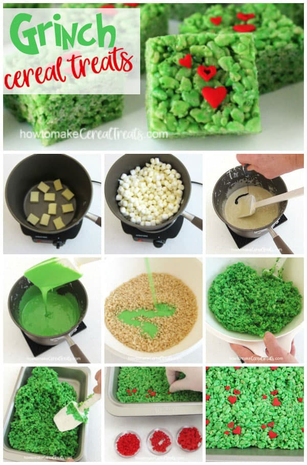 Learn how to make Grinch Rice Krispie Treats using the very best cereal treat recipe, green food coloring, and heart sprinkles in three different sizes. These Christmas treats are quick and easy to make and everyone will love them!