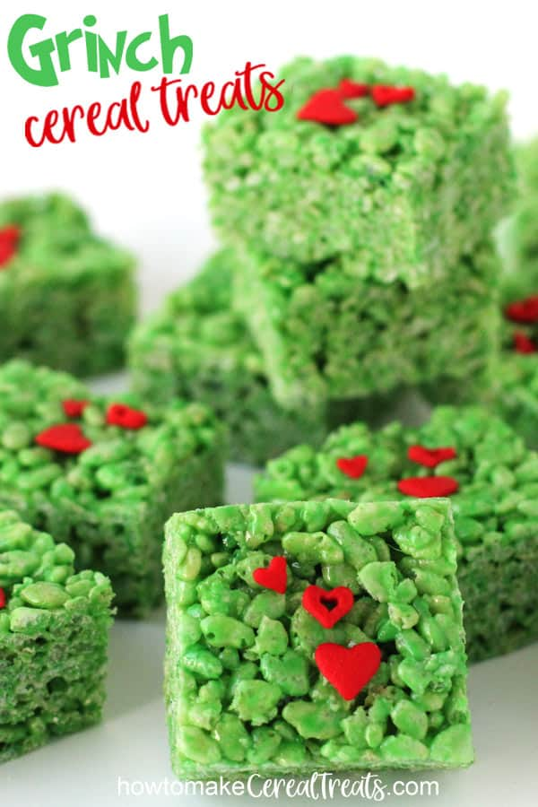 These bright green Grinch Rice Krispie Treats will steal your hearts this Christmas.