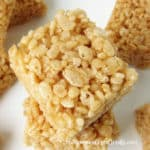 Butter and rich caramel rice krispie treats are crispy and chewy.