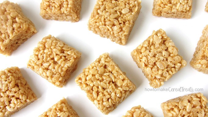 Rice Krispy Treats made using homemade caramel are crispy and chewy and do not contain any marshmallows.