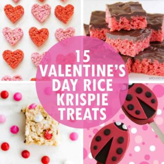 15 VALENTINE'S DAY RICE KRISPIE TREATS -- Fun cereal treats ideas in pink, red, and hearts for classroom parties, Valentine's gifts, or just for fun.