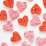 overhead view of scattered heart rice krispie treats