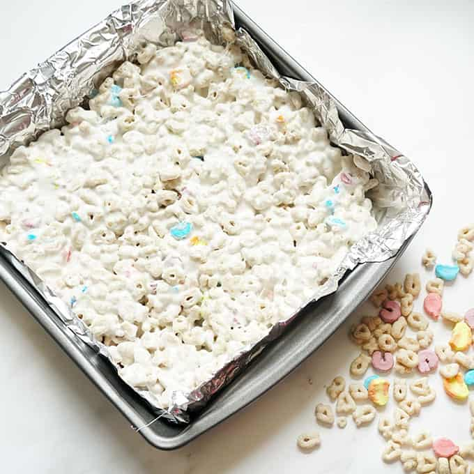 lucky charms treats in baking pan