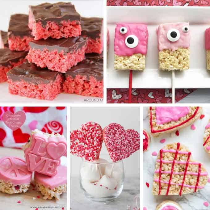 collage of Valentine's Day rice krispie treats