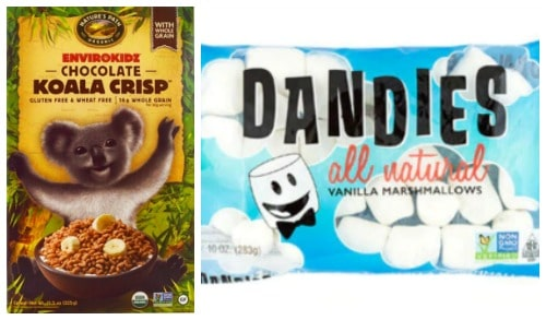 Nature's Path Chocolate Koala Crisp Cereal and Vegan and gluten-free Dandies Marshmallows