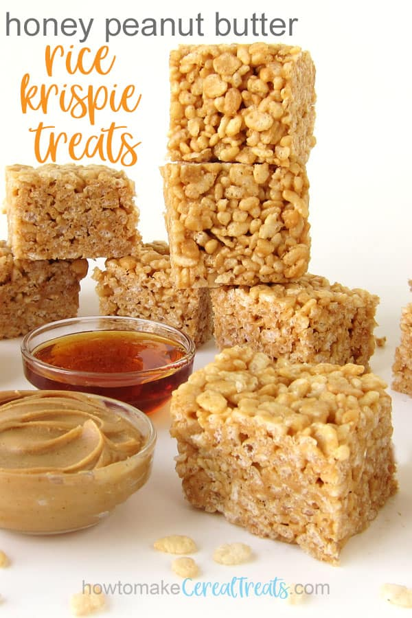 3-ingredient honey peanut butter rice krispie treats stacked next to bowls of peanut butter and honey