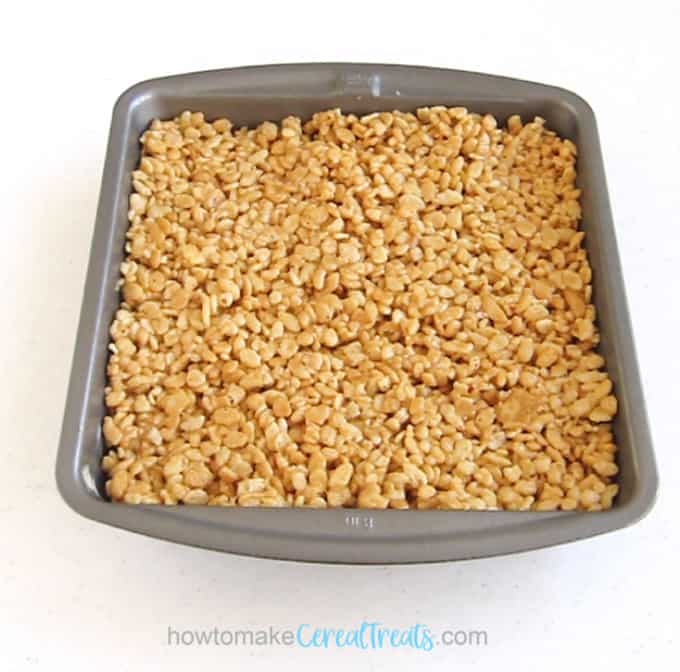 pan of marshmallow-free honey peanut butter rice krispie treats