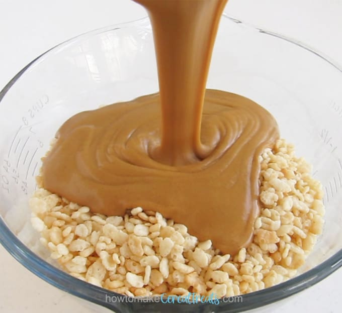 pour honey peanut butter over top of rice crispy cereal