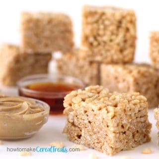 marshmallow-free rice krispie treats made using peanut butter and honey