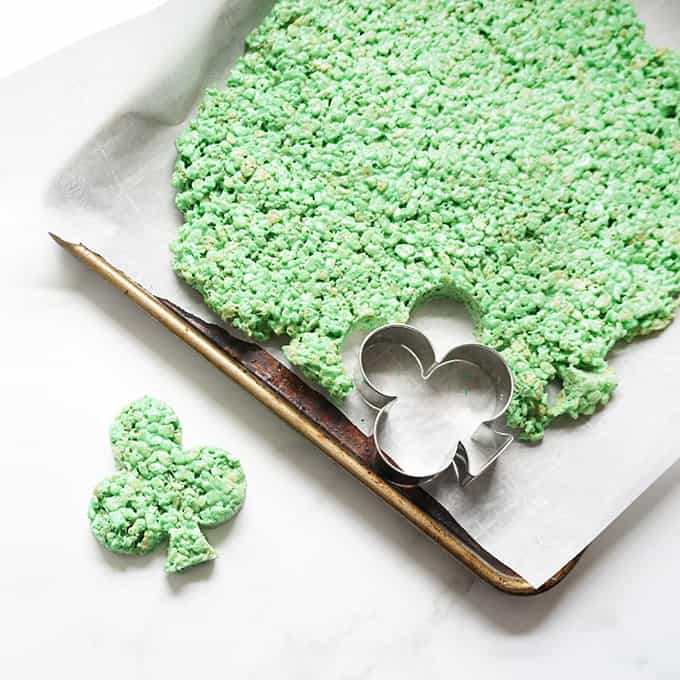 Shamrock Rice krispie treats on baking tray
