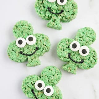 four Shamrock Rice krispie treats