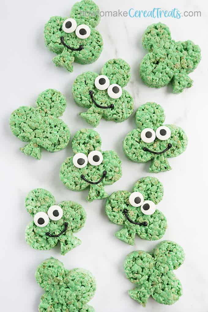 overhead image of St. Patrick's Day Shamrock Rice krispie treats