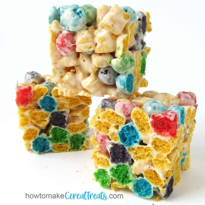 Cap'n Crunch Cereal Bars made with Crunch Berries, marshmallows, and butter.