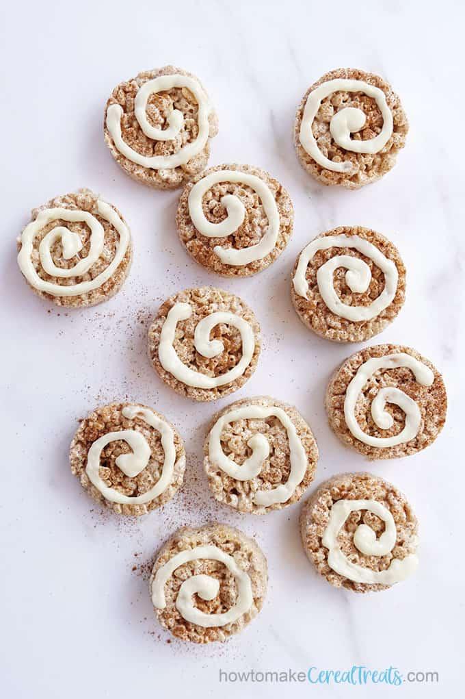overhead view of cinnamon roll rice krispie treats