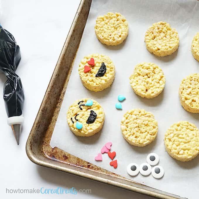 decorating emoji rice krispie treats