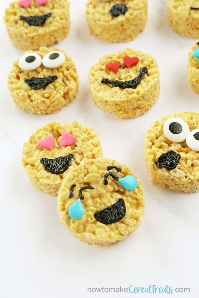 close-up image of emoji rice krispie treats