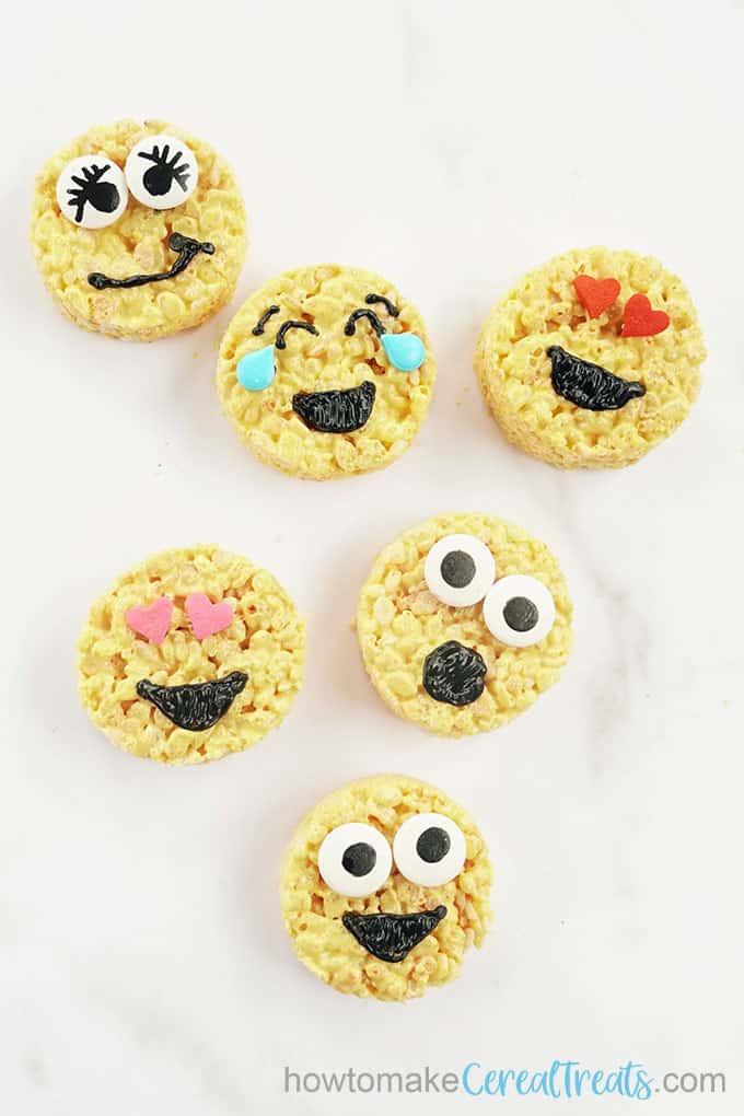 overhead image of emoji rice krispie treats